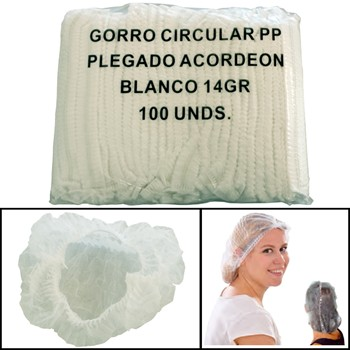 Gefalte Weiße Polipropylen Hauben (100 Einheiten)