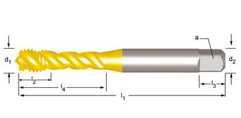 E002TIN - M  Maschinen-Gewindebohrer, Rechtsgedrallte Nuten 45°