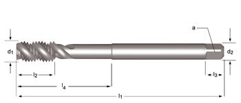 E605 - M  Maschinen-Gewindebohrer, extra lang, rechtsgedrallte Nuten 40°