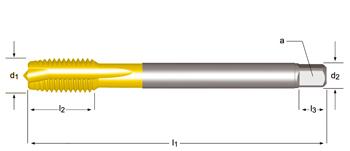EP10TIN - MF  Maschinen-Gewindebohrer, Geradegenutet mit Schälanschnitt