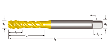 EX00TIN - M  Maschinen-Gewindebohrer, Rechtsgedrallte Nuten 45°