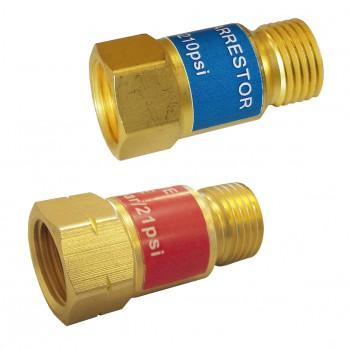 Sicherheitseinrichtung für Sauerstoff oder Acetylen/Propan in Universalbrennern.