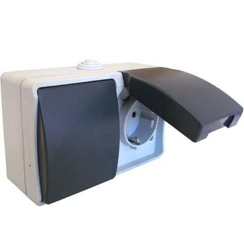 Aufputz Feuchtraum Steckdose mit aus-/Wechelschalter