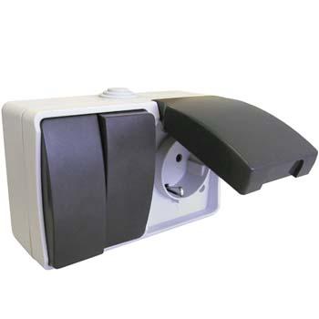 Aufputz Feuchtraum Steckdose mit dopelte aus-/Wechelschalter