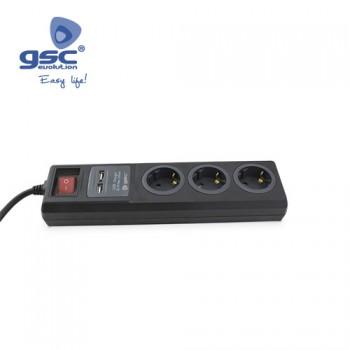 3-fach Steckerleiste + 2 USB Ladebuchsen Ref. 0803392