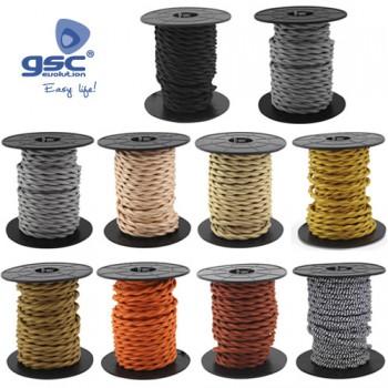 Geflochtenes Textilkabel  10M Ref. 3902977-3902978-3902979-3902980-3902981-3902982-3902983-3902984-3902985-3902986