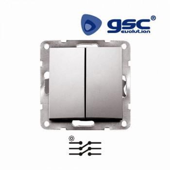 Unterputz Doppelschalter  Iota (Silbergrau) Ref. 103500009
