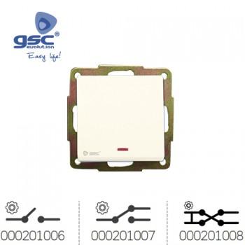 Unterputz Wipp-Wechselschalter (Weiß) + LED  Ref. 000201006-000201007-000201008