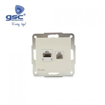 Unterputz Netzwerk/Telefondose (Weiß) Ref. 000201016