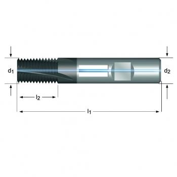 J245 - UNF Gewindefräser Spiralnut 10° innere Kühlmittelzufuhr