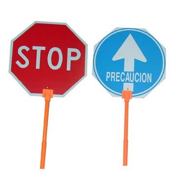Stop-Durchlass Bauschild mit Griff