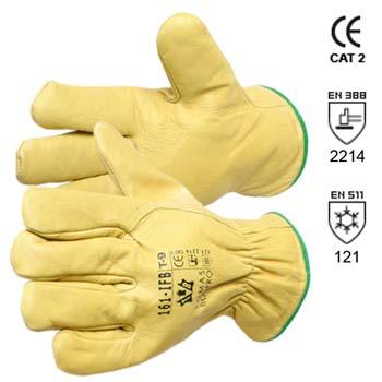 Gefütterte gelbe Arbeitshandschuhe aus Rindvollleder Modell 161 IFB.