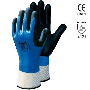 Baumwolle/Nylon Handschuhe mit Nitrilschaumbesichtigung auf Nitril Mod. 377