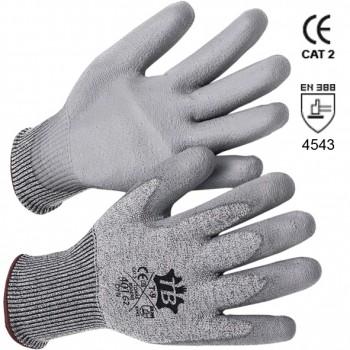 Graue HPPE Schnittschutz-Handschuhe mit Glasfaser und Handinnenfläche PU-beschichtet Mod. 401G2 DYN