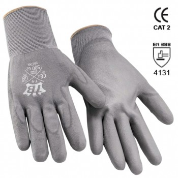 Graue Nylonhandschuhe mit Polyurethandbeschichtigung Mod. 500G2 URETAN
