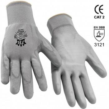 Graue Polyesterhandschuhe mit Polyurethanbeschichtigung Mod. 500G2P URETAN