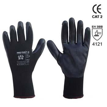 Nahtlose schwarze Polyesterhandschuhe Mod. 700NG2P TOUCH