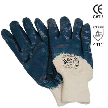 Blaue Nitrilhandschuhe mit unbeschichtige Handrücken Mod. 9020B