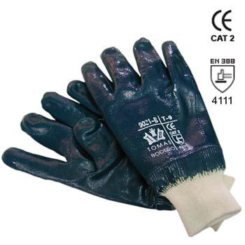 Blaue Nitrilhandschuhe mit beschichtige Handrücken Mod. 9021B