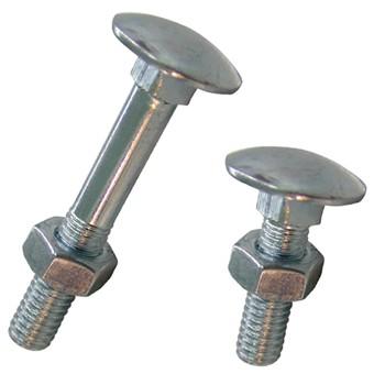 Metrische Flachrundschrauben mit Vierkantansatz und mit Mutter DIN-603, Stahl verzinkt